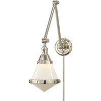 Thomas OBrien Gale 30 inch 60 watt Polished Nickel Task Wall Light in White Glass