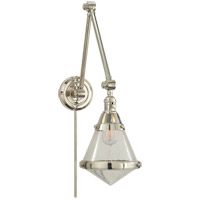 Thomas OBrien Gale 30 inch 60 watt Polished Nickel Task Wall Light in Seeded Glass