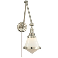 Visual Comfort TOB2156PN-WG Thomas OBrien Gale 30 inch 60 watt Polished Nickel Task Wall Light in White Glass