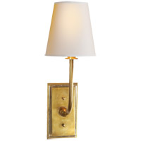 Thomas O'Brien Hulton 1 Light 6 inch Hand-Rubbed Antique Brass Decorative Wall Light in Natural Paper, Clear Glass Plate