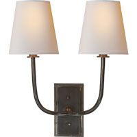 Visual Comfort Thomas OBrien Hulton 2 Light Decorative Wall Light in Bronze with Wax TOB2191BZ-NP