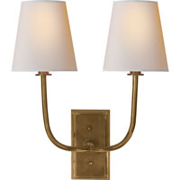 Visual Comfort Thomas OBrien Hulton Double Sconce in Hand-Rubbed Antique Brass with Natural Paper Shades TOB2191HAB-NP - Open Box