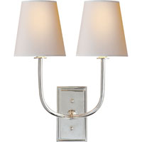 Visual Comfort Thomas OBrien Hulton 2 Light Decorative Wall Light in Polished Nickel TOB2191PN-NP