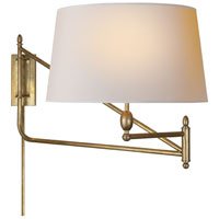 Visual Comfort Thomas OBrien Paulo 1 Light Swing-Arm Wall Light in Hand-Rubbed Antique Brass TOB2201HAB-NP