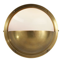 Visual Comfort Thomas OBrien Pelham Moon 1 Light Bath Wall Light in Hand-Rubbed Antique Brass TOB2208HAB-WG