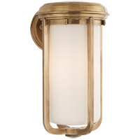 Visual Comfort Thomas OBrien Milton 1 Light Bath Wall Light in Hand-Rubbed Antique Brass with White Glass Shade TOB2211HAB-WG