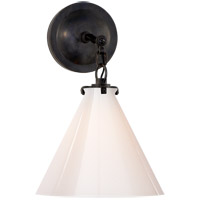 Thomas OBrien Katie 1 Light 9 inch Bronze Decorative Wall Light in White Glass