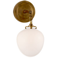 Visual Comfort TOB2225HAB/G2-WG Thomas OBrien Katie 1 Light 7 inch Hand-Rubbed Antique Brass Decorative Wall Light in White Glass