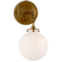 Visual Comfort TOB2225HAB/G4-WG Thomas OBrien Katie 1 Light 8 inch Hand-Rubbed Antique Brass Decorative Wall Light in White Glass