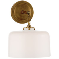 Visual Comfort TOB2225HAB/G5-WG Thomas OBrien Katie 1 Light 10 inch Hand-Rubbed Antique Brass Decorative Wall Light in White Glass
