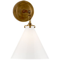 Thomas OBrien Katie 1 Light 9 inch Hand-Rubbed Antique Brass Decorative Wall Light in White Glass