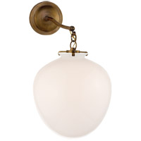 Thomas OBrien Katie 11 inch Hand-Rubbed Antique Brass Sconce Wall Light in White Glass, Thomas O''Brien, Large, Acorn, White Glass