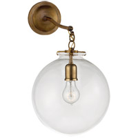 Thomas OBrien Katie 12 inch Hand-Rubbed Antique Brass Sconce Wall Light in Clear Glass, Thomas O''Brien, Large, Globe, Clear Glass