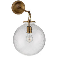 Thomas OBrien Katie 12 inch Hand-Rubbed Antique Brass Sconce Wall Light in Seeded Glass, Thomas O''Brien, Large, Globe, Seeded Glass