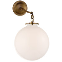 Thomas OBrien Katie 12 inch Hand-Rubbed Antique Brass Sconce Wall Light in White Glass, Thomas O''Brien, Large, Globe, White Glass