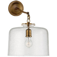 Thomas OBrien Katie 12 inch Hand-Rubbed Antique Brass Sconce Wall Light in Seeded Glass, Thomas O''Brien, Large, Dome, Seeded Glass