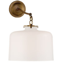 Thomas OBrien Katie 12 inch Hand-Rubbed Antique Brass Sconce Wall Light in White Glass, Thomas O''Brien, Large, Dome, White Glass