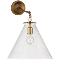 Thomas OBrien Katie 16 inch Hand-Rubbed Antique Brass Sconce Wall Light in Clear Glass, Thomas O''Brien, Large, Conical, Clear Glass
