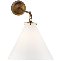 Thomas OBrien Katie 16 inch Hand-Rubbed Antique Brass Sconce Wall Light in White Glass, Thomas O''Brien, Large, Conical, White Glass
