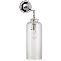 Visual Comfort Thomas OBrien Katie 7-inch Sconce in Polished Nickel, Large, Cylinder, Seeded Glass TOB2226PN/G3-SG