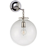 Visual Comfort Thomas OBrien Katie 12-inch Sconce in Polished Nickel, Large, Globe, Clear Glass TOB2226PN/G4-CG