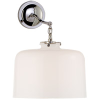 Thomas OBrien Katie 12 inch Polished Nickel Sconce Wall Light in White Glass, Thomas O''Brien, Large, Dome, White Glass