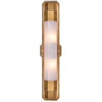 Visual Comfort Thomas OBrien Langston 2 Light Bath Wall Light in Hand-Rubbed Antique Brass with White Glass Shade TOB2234HAB-WG
