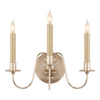 Visual Comfort Thomas OBrien Danny 3 Light Decorative Wall Light in Antique Silver Leaf TOB2311ASL