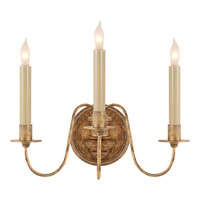 Visual Comfort Thomas OBrien Danny 3 Light Decorative Wall Light in Gilded Iron with Wax TOB2311GI