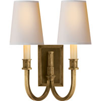 Visual Comfort Thomas OBrien Library 2 Light Decorative Wall Light in Hand-Rubbed Antique Brass TOB2328HAB-NP