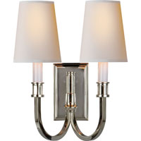 Visual Comfort Thomas OBrien  Library 2 Light Decorative Wall Light in Polished Nickel TOB2328PN-NP