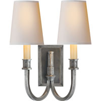 Thomas OBrien Library 2 Light 12 inch Sheffield Nickel Decorative Wall Light