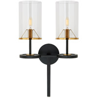 Visual Comfort TOB2503BK/HAB-CG2 Thomas OBrien Vivier 2 Light 14 inch Blackened Iron and Hand-Rubbed Antique Brass Double Wall Sconce Wall Light
