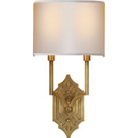 Visual Comfort Thomas OBrien Silhouette 2 Light Decorative Wall Light in Hand-Rubbed Antique Brass TOB2600HAB-NP