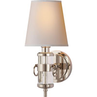 Visual Comfort Thomas OBrien Jonathan 1 Light Decorative Wall Light in Crystal with Natural Paper Shade TOB2730CG-NP