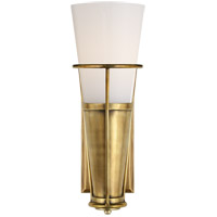 Thomas OBrien Robinson 4 inch Hand-Rubbed Antique Brass Sconce Wall Light in White Glass, Thomas O'Brien, White Glass