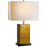 Thomas OBrien Dixon 21 inch 40 watt Antique Brass with Bronze Decorative Table Lamp Portable Light in (None), Hand-Rubbed Antique Brass, Natural Paper