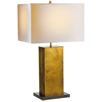 Thomas OBrien Dixon 31 inch 40 watt Antique Brass with Bronze Decorative Table Lamp Portable Light in (None), Hand-Rubbed Antique Brass, Natural Paper