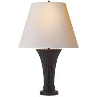 Visual Comfort Thomas OBrien Didier Petit 2 Light Table Lamp in Bronze with Natural Paper Shade TOB3092BZ-NP