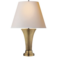 Visual Comfort Thomas OBrien Didier Petit 2 Light Table Lamp in Hand-Rubbed Antique Brass with Natural Paper Shade TOB3092HAB-NP