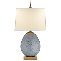 Visual Comfort Thomas OBrien Ciro 2 Light Table Lamp in Mottled Light Grey with Natural Paper Shade TOB3386MLG-NP