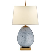 Visual Comfort Thomas OBrien Ciro 2 Light Table Lamp in Mottled Light Grey with Natural Paper Shade TOB3387MLG-NP
