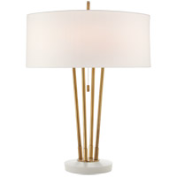 Visual Comfort TOB3736HAB/WM-L Thomas O'Brien Stefano 24 inch 40 watt Hand-Rubbed Antique Brass and White Marble Table Lamp Portable Light, Medium