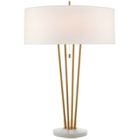 Visual Comfort TOB3737HAB/WM-L Thomas O'Brien Stefano 31 inch 40 watt Hand-Rubbed Antique Brass and White Marble Table Lamp Portable Light, Large photo thumbnail