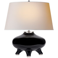 Thomas OBrien Nara 24 inch 60 watt Black Porcelain Table Lamp Portable Light, Thomas O'Brien, Natural Paper Shade