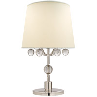 Visual Comfort TOB3914PN/CG-L Thomas OBrien Voltaire 19 inch 75 watt Polished Nickel and Crystal Bedside Lamp Portable Light
