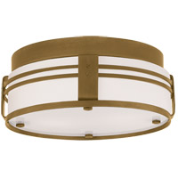 Visual Comfort Thomas OBrien Ted 2 Light Flush Mount in Hand-Rubbed Antique Brass TOB4003HAB