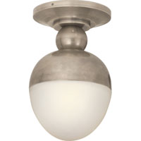 Visual Comfort Thomas OBrien Clark 1 Light Flush Mount in Antique Nickel TOB4006AN-WG