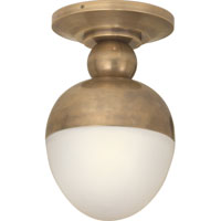 Visual Comfort Thomas OBrien Clark 1 Light Flush Mount in Hand-Rubbed Antique Brass TOB4006HAB-WG