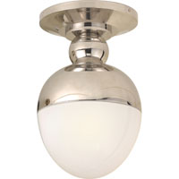 Visual Comfort Thomas OBrien Clark 1 Light Flush Mount in Polished Nickel TOB4006PN-WG